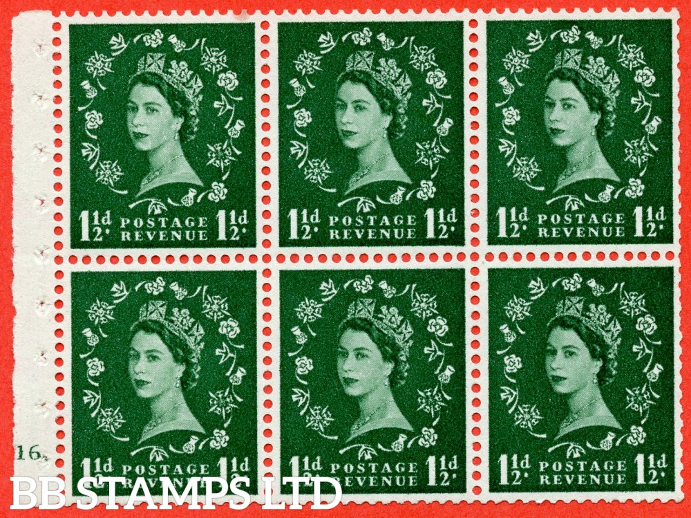 "SG. 572. SB66. 1½d Green. A fine UNMOUNTED MINT cylinder "" G16 dot "" booklet pane of 6. Perf type (Iet) with GOOD PERFS. Rough edge White paper."