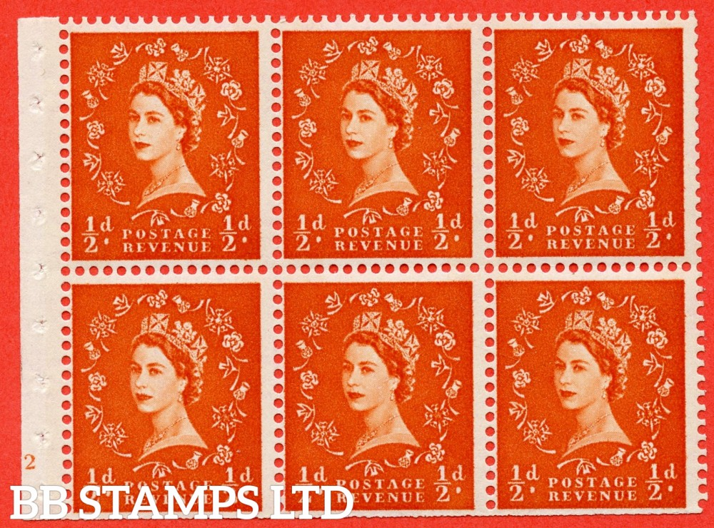 "SG. 610. SB16. ½d Orange Red. A fine UNMOUNTED MINT cylinder "" E12 no dot "" booklet pane of 6. Perf type (I) with TRIMMED PERFS. Smooth edge. Cream Paper."
