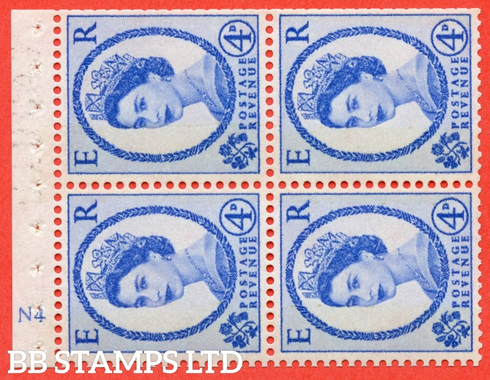 "SG. 616a. SB108a. 4d Deep Ultramarine.  A fine UNMOUNTED MINT cylinder "" N4 no dot "" booklet pane of 4. Perf type (I) with TRIMMED PERFS. Smooth edge. White Paper."