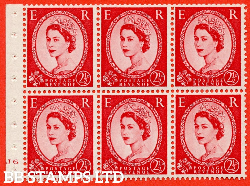 "SG. 544b. SB81. 2½d carmine - red. A fine UNMOUNTED MINT "" J6 no dot "" booklet pane of 6. Perf type (I) with GOOD PERFS. Smooth edge."