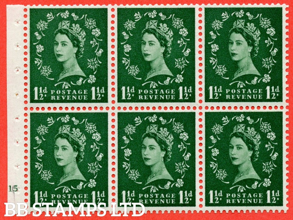"SG. 572. SB65. 1½d green. A fine mounted mint cylinder "" G15 no dot "" booklet pane of 6. Perf type (I) with TRIMMED PERFS. Smooth edge. Cream paper."