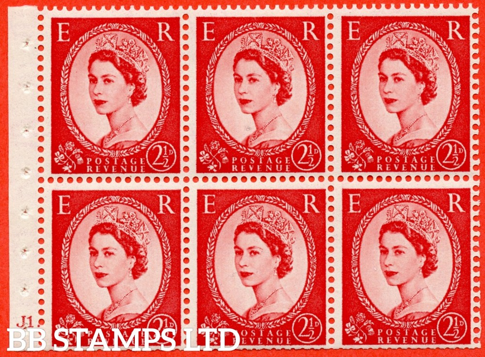 "SG. 519 b. SB80. 2½d carmine - red. A fine UNMOUNTED MINT cylinder "" J1 dot "" booklet pane of 6. Perf type (Ieb) with TRIMMED PERFS. Smooth edge."