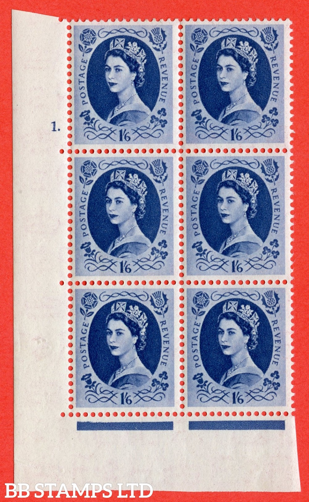 "SG. 531. S150a & b. 1s.6d. Grey-blue. A superb UNMOUNTED MINT "" cylinder 1 dot "" control block of 6 with perf type A E/I with both listed varieties "" White Flaw in Qeens hair below diadem Row 20/1 "" and "" Wwhite Flaw in Qeens hair opposite N of Revenue Ro"