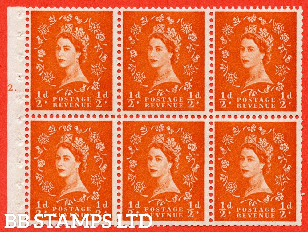 "SG. 610. SB17. ½d Orange Red. A fine UNMOUNTED MINT cylinder "" E12 T dot "" booklet pane of 6. Perf type (Ieb) with TRIMMED PERFS. Smooth edge. White Paper."