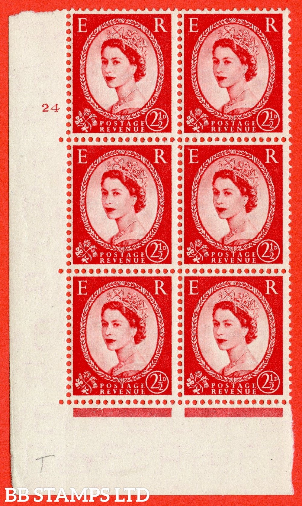 "SG. 519. S50. 2½d Carmine Red. A fine mounted mint "" cylinder 24 no dot "" control block of 6 with perf type A E/I."