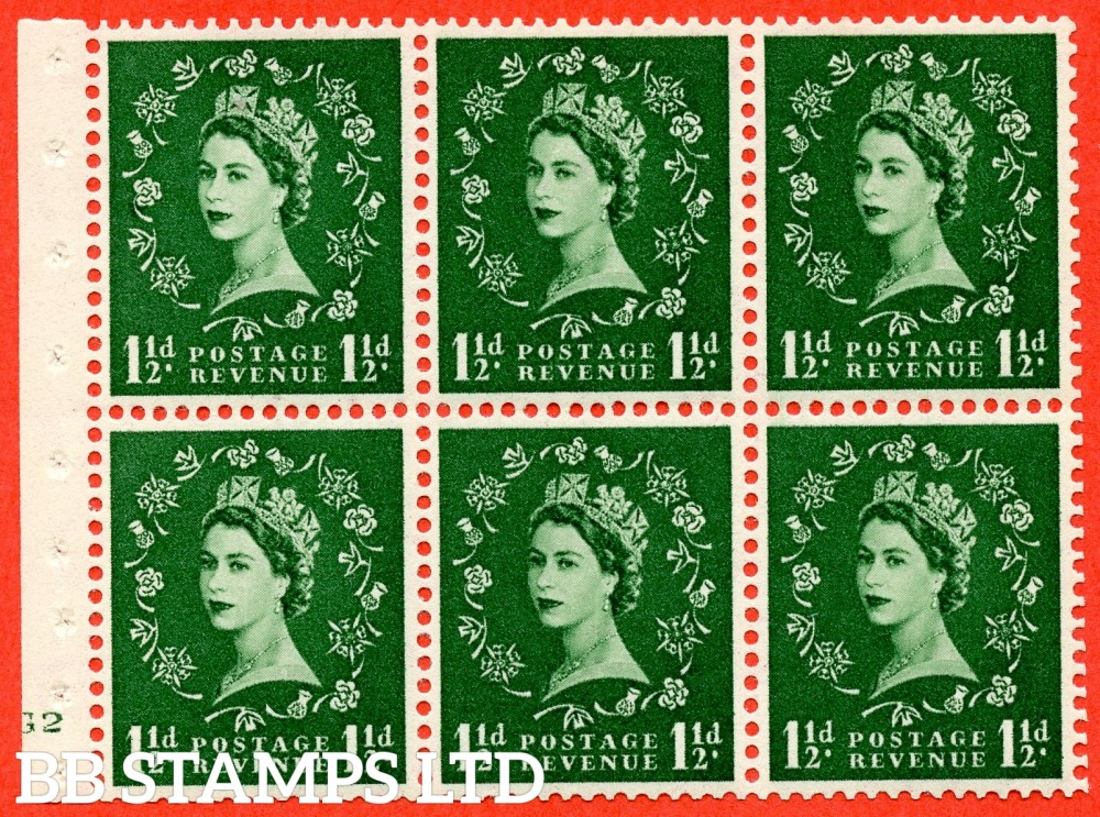 "SG. 517. SB59. 1½d green. A fine UNMOUNTED MINT cylinder "" G2 no dot "" booklet pane of 6. Perf type (I) with GOOD PERFS. Smooth edge."