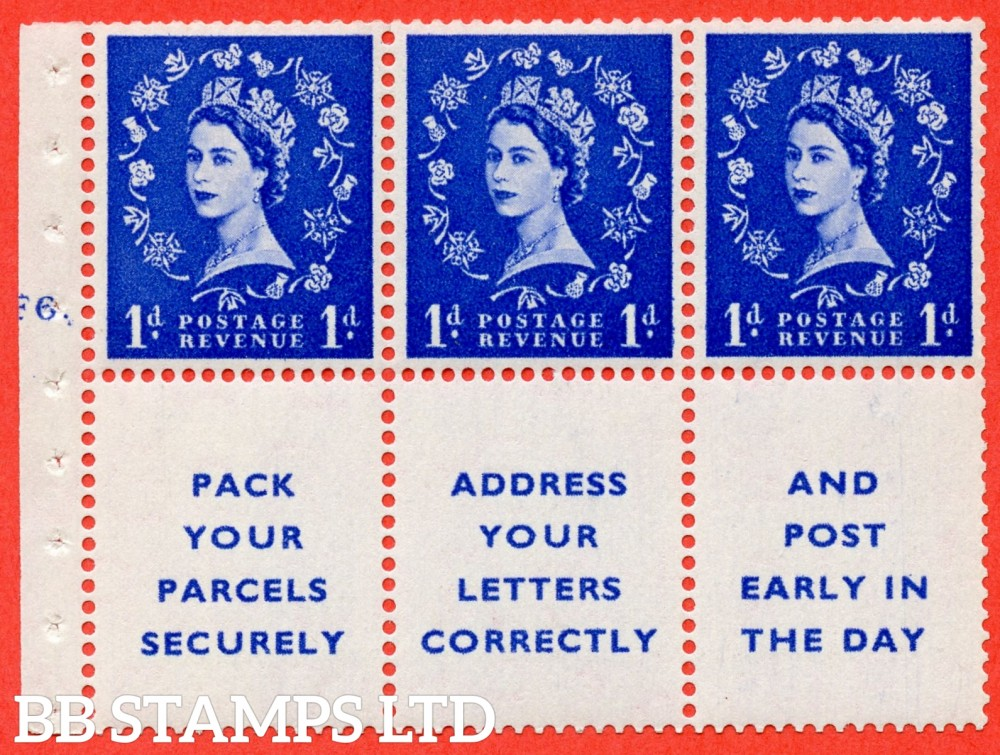 "SG. 541. SB29. 1d ultramarine. A fine mounted mint cylinder "" F6 dot "" booklet pane of 6. Perf type (Iet) with TRIMMED PERFS. Smooth edge."
