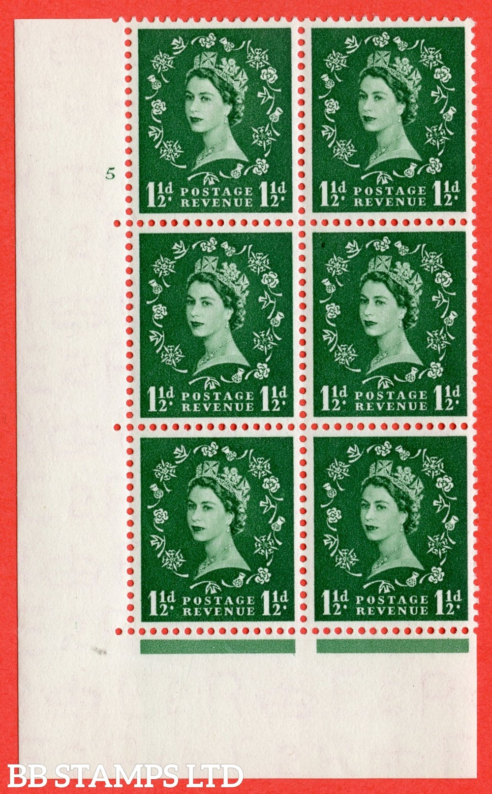 "SG. 517. S25. 1½d Green. A superb UNMOUNTED MINT "" cylinder 5 no dot "" control block of 6 with perf type A E/I."