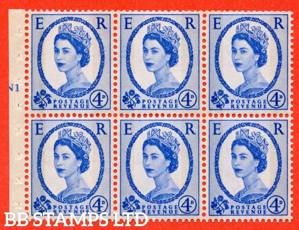 "SG. 616a. SB111. 4d Deep Ultramarine. A fine UNMOUNTED MINT cylinder "" N1 T No dot "" booklet pane of 6. Perf type (I) with GOOD PERFS. Smooth edge."