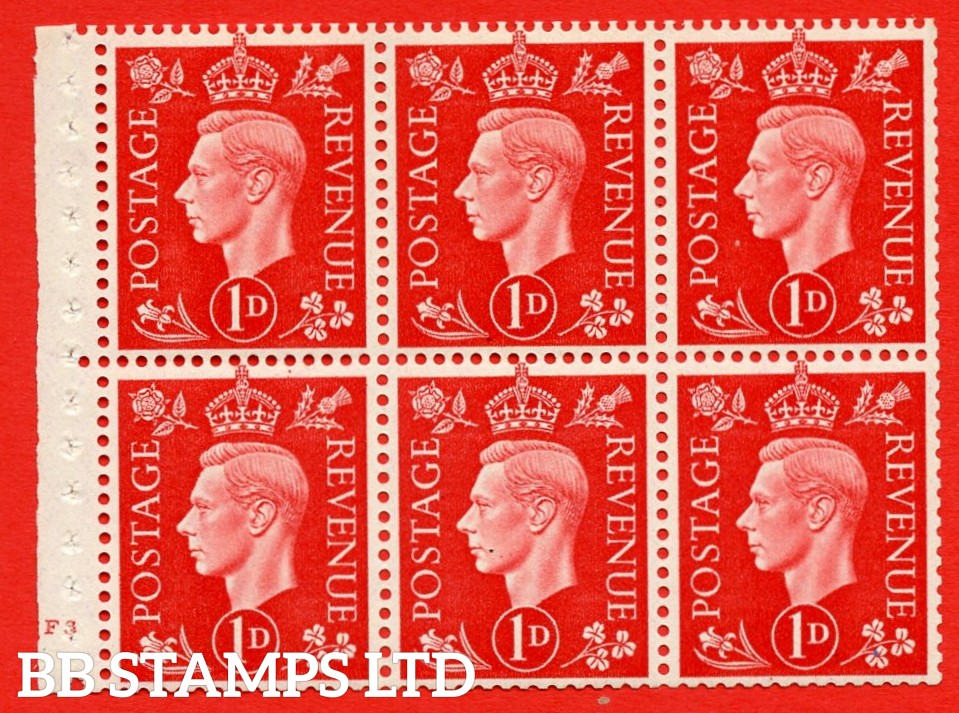 SG. QB10 Perf Type B4(E) 1d Scarlet x 6 Pane, UNMOUNTED MINT Watermark Upright. Cylinder Pane F3 no dot ( SG. 463b ) Perf Type B4(E). Good Perfs.