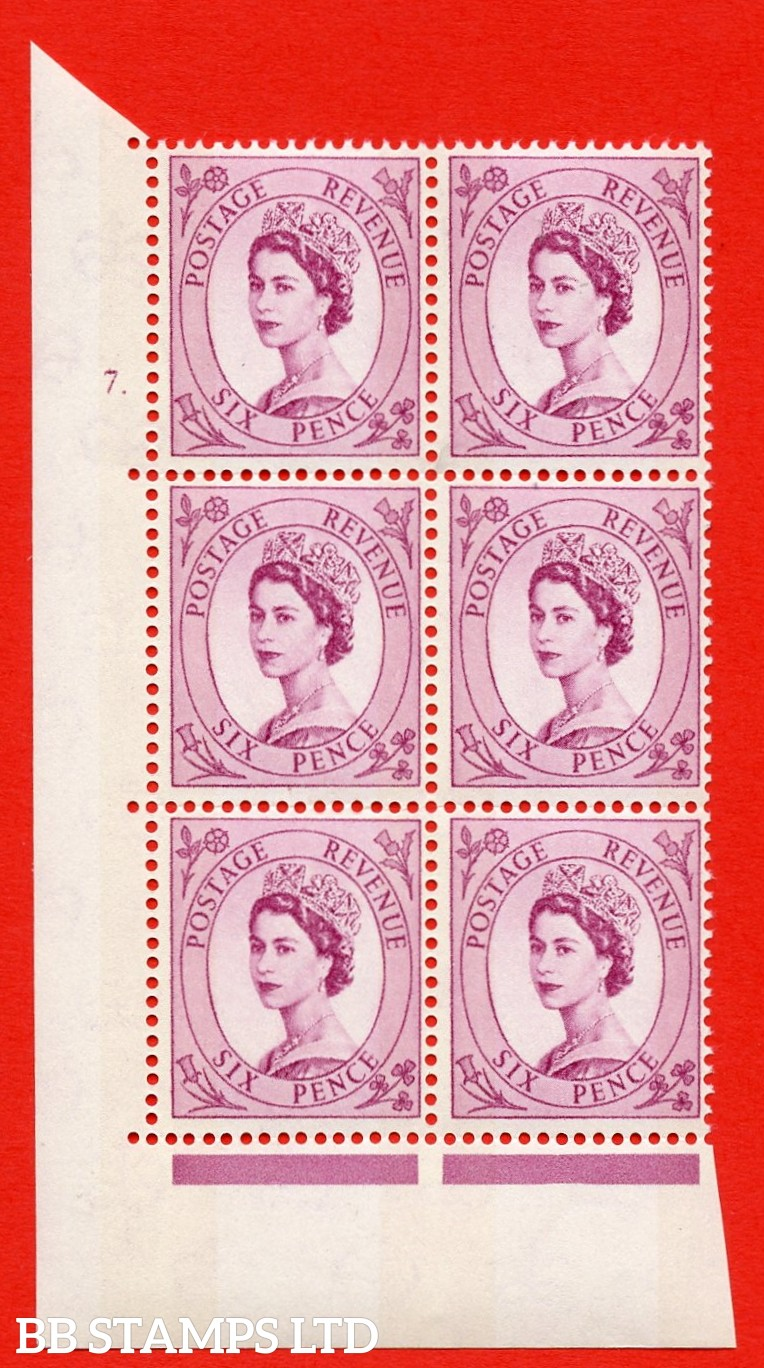 "SG.617. S110. 6d Deep claret. Photo. A superb UNMOUNTED MINT "" cylinder 7 dot "" control block of 6 with perf type A (E/I). Blue Phosphor Cream paper."