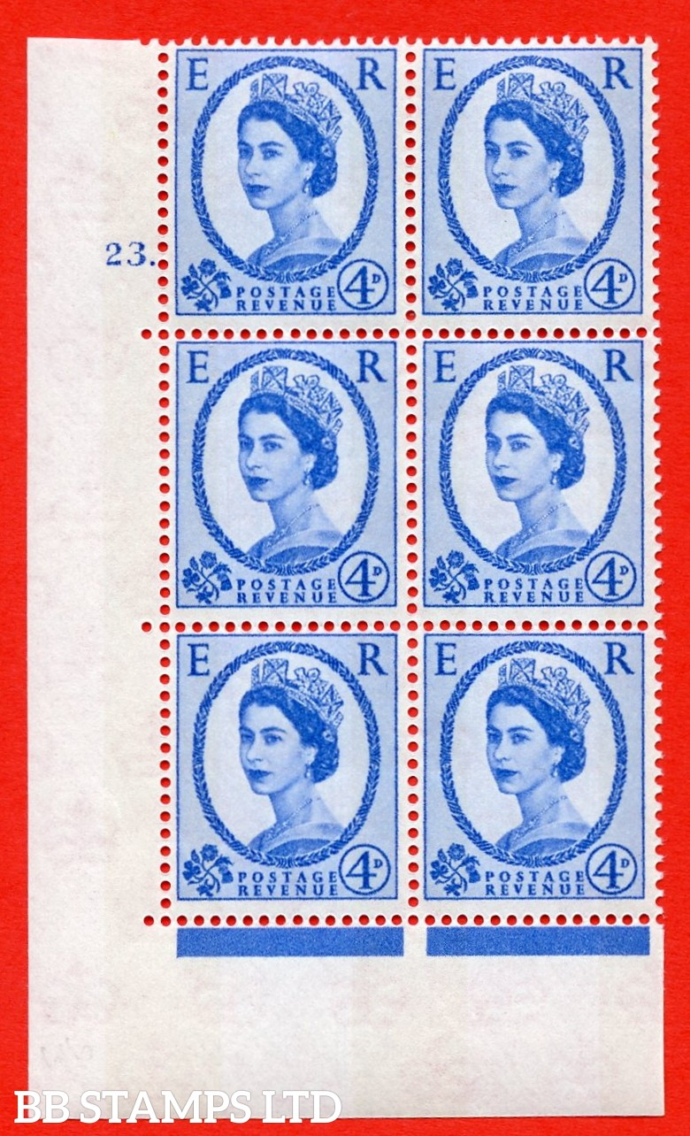 "SG.616a. S92. 4d Deep Ultramarine. A superb UNMOUNTED MINT "" cylinder 23 dot "" control block of 6 with perf type A (E/I). violet Phosphor 9½mm Band."