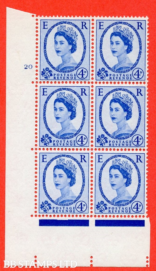 "SG. 576a. S85. 4d Deep Ultramarine. A superb UNMOUNTED MINT "" cylinder 20 no dot "" control block of 6 with perf type A E/I. WHITE paper."