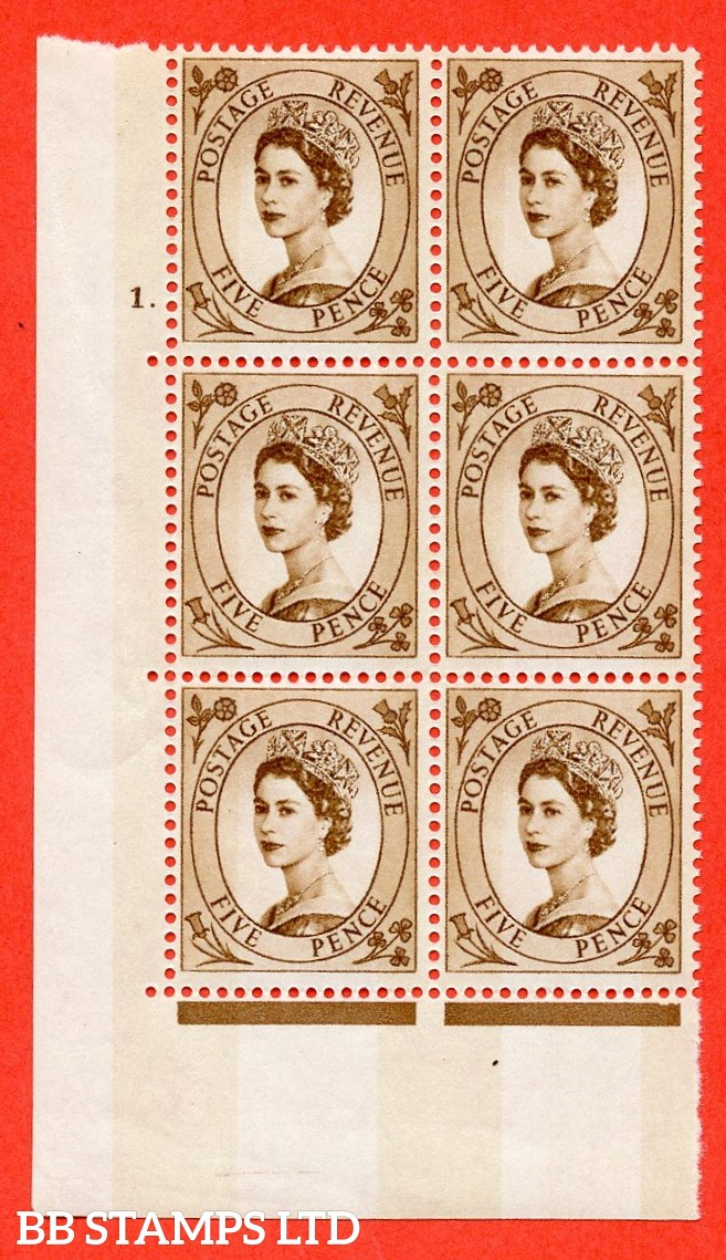 """SG.616c. S103. 5d Deep Brown. A fine mounted mint """" cylinder 1 dot """" control block of 6 with perf type A (E/I). violet Phosphor 9½mm Band."""