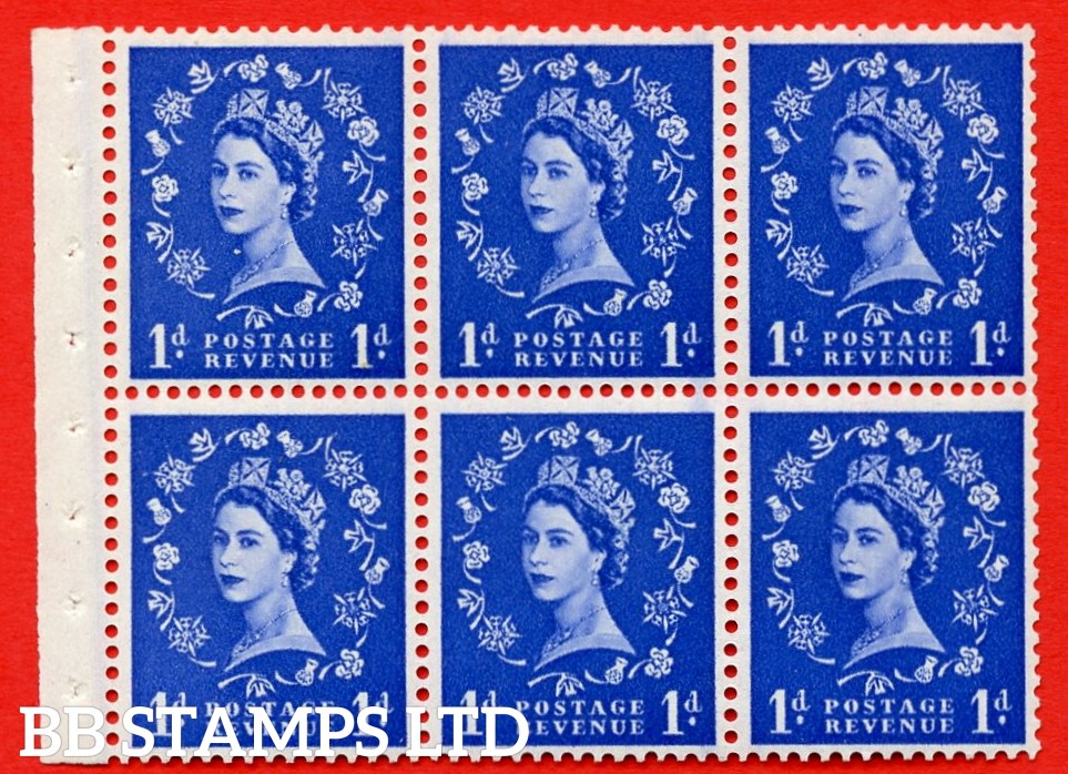 SG. 516. SB20b. 1d ultramarine. A fine UNMOUNTED MINT example. Complete booklet pane of 6. With a hair flaw ERROR. R.1/1 variety. Good perfs.