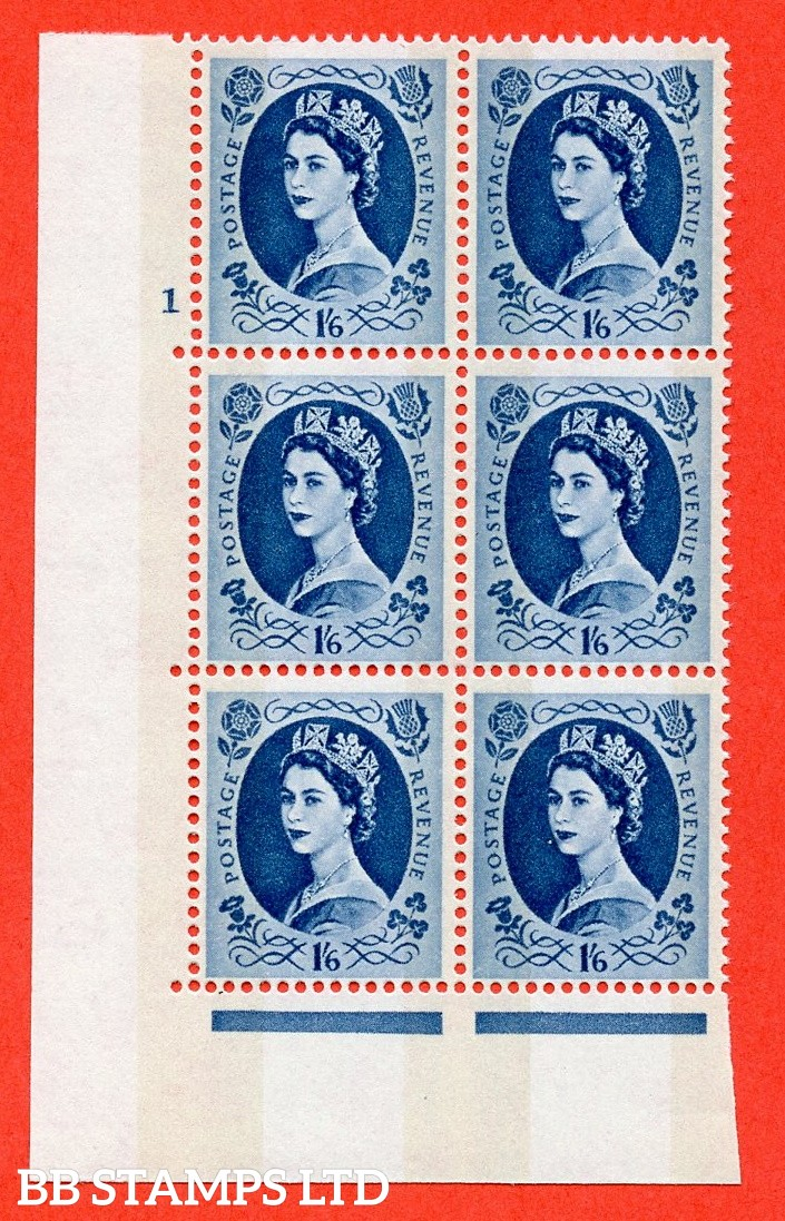 "SG.618a. S154. 1/6d Grey Blue. A superb UNMOUNTED MINT "" cylinder 1 no dot "" control block of 6 with perf type A (E/I). violet Phosphor 9½mm Band"