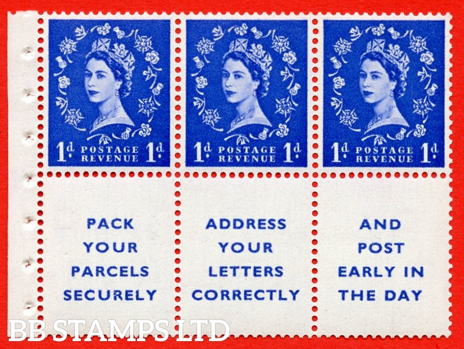 SG. 516La. SB25. 1d ultramarine. A fine UNMOUNTED MINT Complete booklet pane of 6. Perf type (Iet) with Good PERFS.