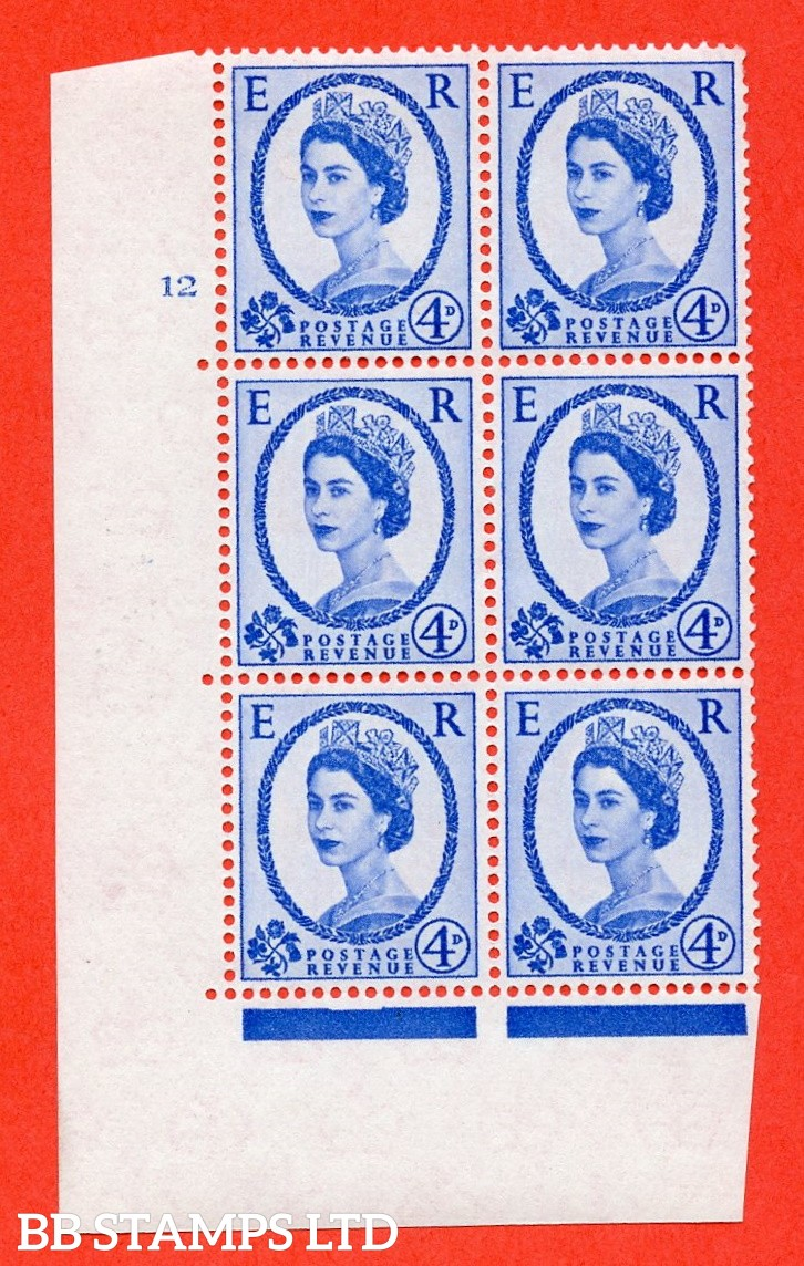 "SG. 576a. S85. 4d Deep Ultramarine. A superb UNMOUNTED MINT "" cylinder 12 no dot "" control block of 6 with perf type A E/I. WHITE paper."