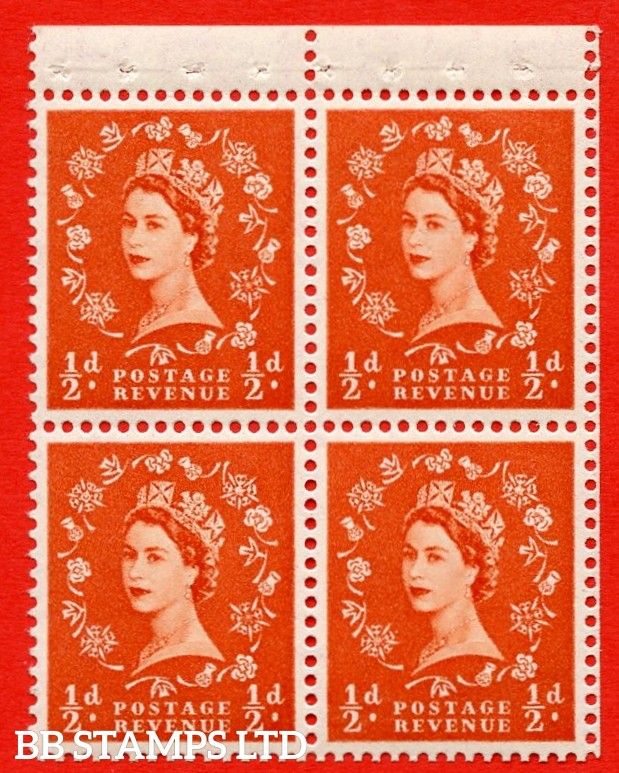 SG. 515m. S2. ½d Orange-Red. A fine UNMOUNTED MINT. complete control block of 4 with perf type P. Good perfs.