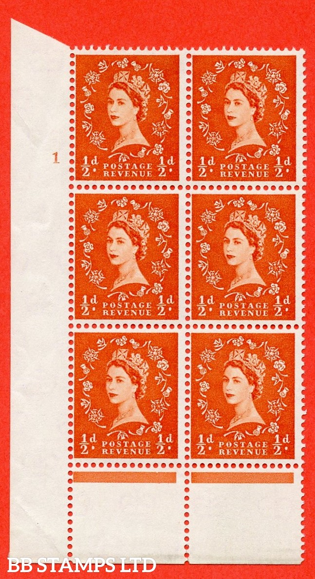 "SG. 570. S4. ½d Orange. A fine mounted mint "" cylinder 1 dot "" control block of 6 with perf type C E/P. CREAM paper."
