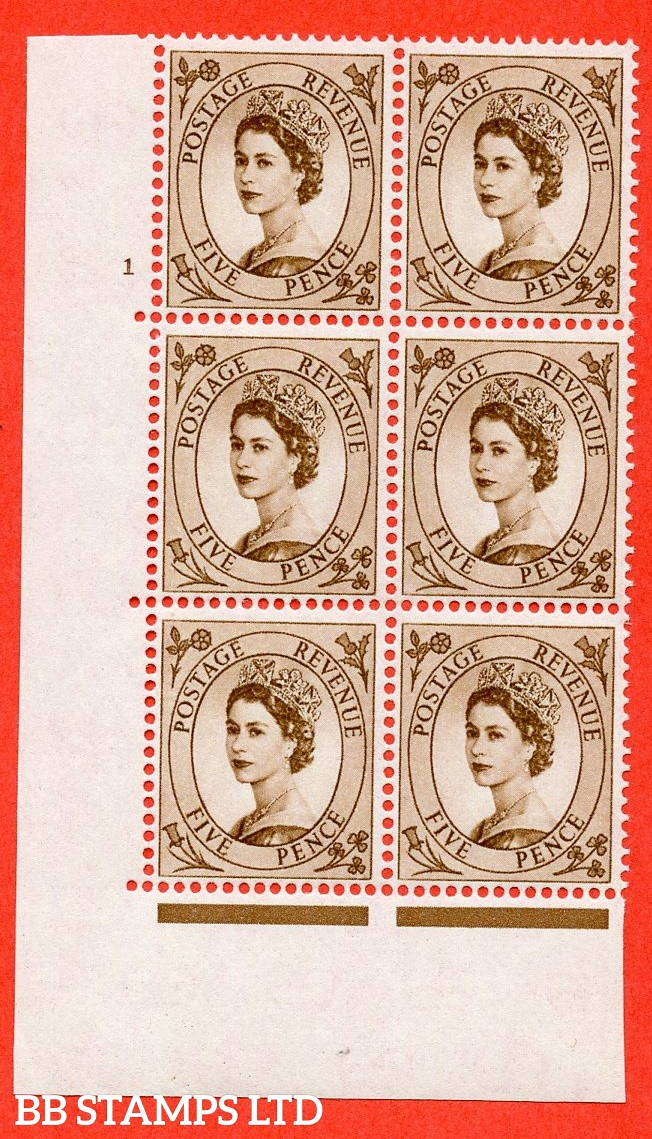 "SG. 578. S102. 5d Brown. A superb UNMOUNTED MINT "" cylinder 1 no dot "" control block of 6 with perf type A E/I. WHITE paper."