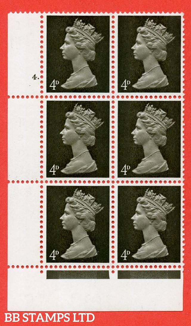 "SG. 731v. U12 . 4d deep olive brown  A superb UNMOUNTED MINT "" cylinder 4 dot "" control block of 6 with perf type FL P/E. PVA gum. Head A"