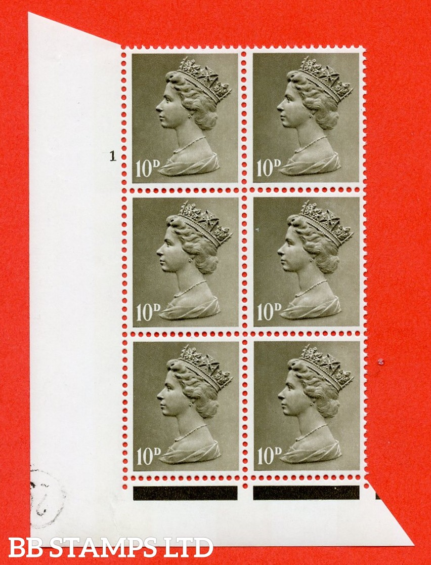 "SG. 741. U24. 10d drab  A superb UNMOUNTED MINT "" cylinder 1 no dot "" control block of 6 with perf type FL I/E. PVA gum. Head A."