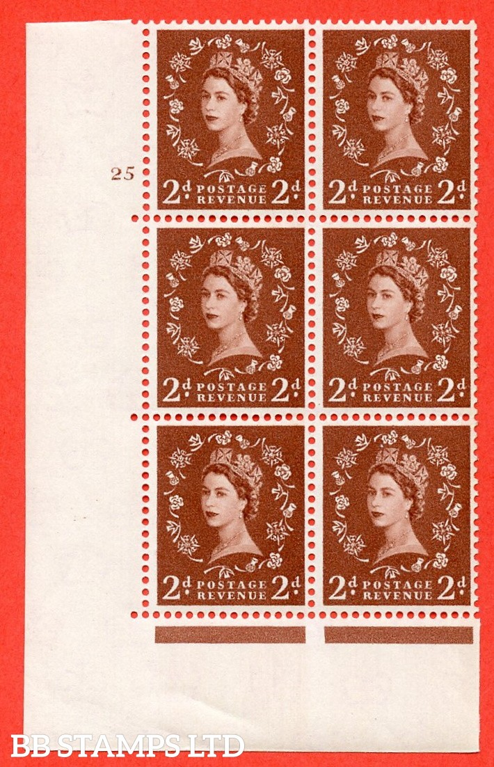 "SG. 573. S40. 2d light red brown . A superb UNMOUNTED MINT "" cylinder 25 no dot "" control block of 6 with perf type A E/I. CREAM paper."
