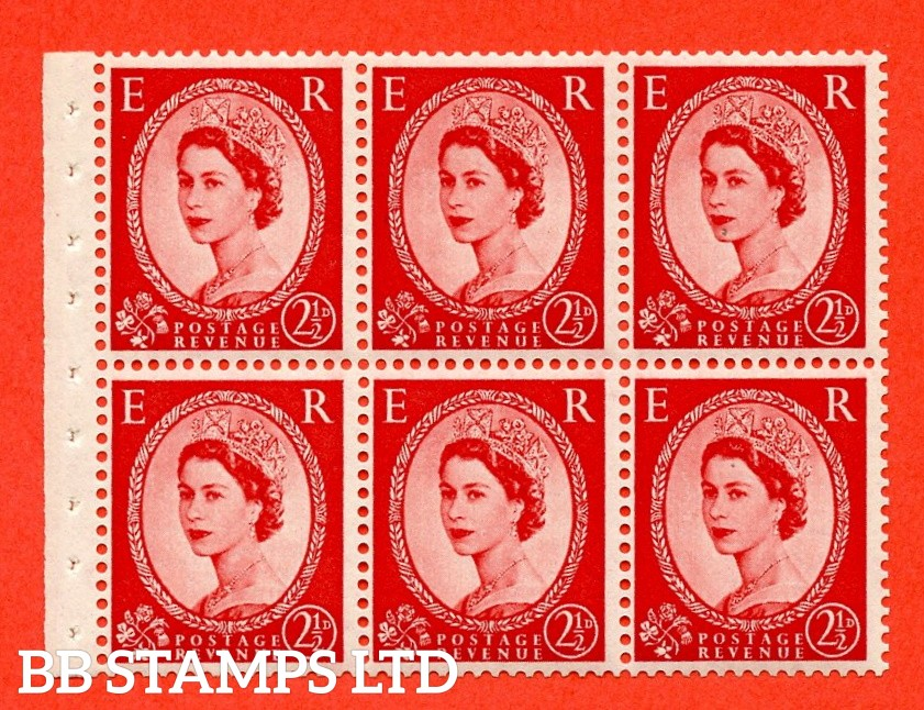 SG. 519 L. SB80. 2½d carmine - red. A fine UNMOUNTED MINT. Complete booklet pane of 6. Perf type (IS) with Good PERFS.