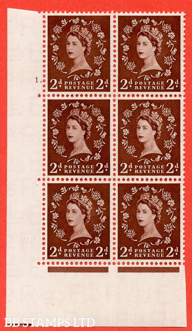 "SG. 518. S36. 2d Red-Brown. A superb UNMOUNTED MINT "" cylinder 1 dot "" control block of 6 with perf type A E/I."