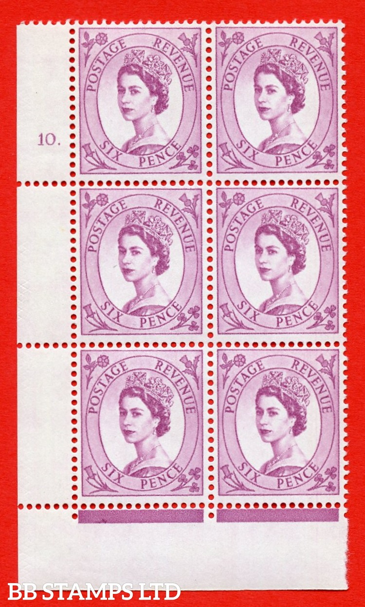 "SG.617. S117. 6d Deep Claret. A superb UNMOUNTED MINT "" cylinder 10 dot "" control block of 6 with perf type FL (P/E). violet Phosphor 9½mm Band."