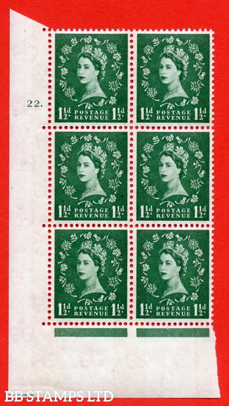 "SG.612. S34. 1½d  Green. A superb UNMOUNTED MINT "" cylinder 22 dot "" control block of 6 with perf type A (E/I). Blue Phosphor White paper"