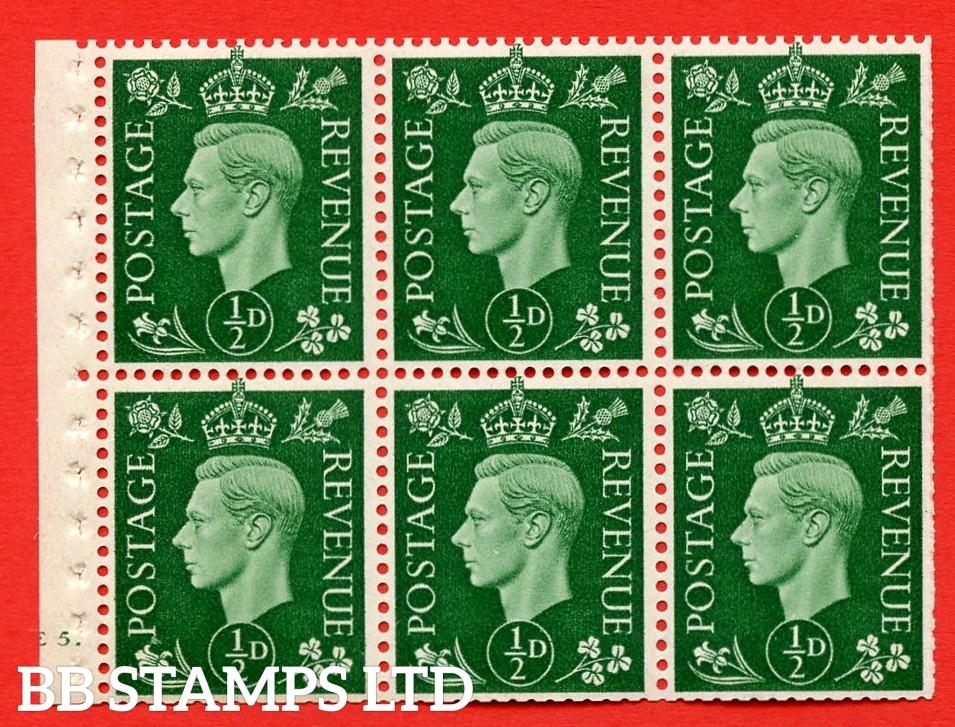 SG. QB1 Perf Type B4B(E). ½d Green x 6 Pane, UNMOUNTED MINT Watermark Upright. Cylinder Pane E5 dot ( SG. 462b ) Perf Type B4B(E). Trimmed Perfs.