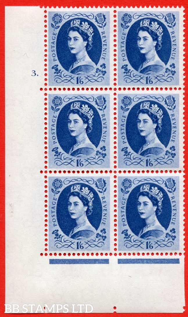 "SG S152. 1/_6d Grey Blue  A superb UNMOUNTED MINT "" cylinder 3 dot "" control block of 6 with perf type A (E/I)."