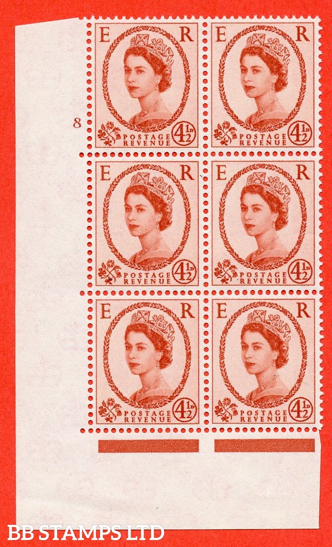"SG. 577. S94. 4½d Chestnut. A superb UNMOUNTED MINT "" cylinder 8 no dot "" control block of 6 with perf type A E/I. WHITE paper."