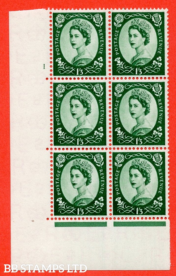 "SG. 555. S142. 1s 3d Green. A fine mounted mint "" cylinder 1 no dot "" control block of 6 with perf type A E/I."