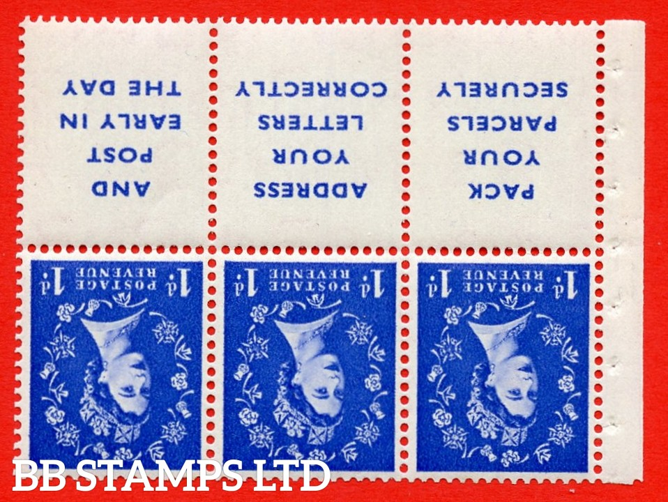 SG. 516Lawi. SB25a. 1d ultramarine. A fine UNMOUNTED MINT. WATERMARK INVERTED. Complete booklet pane of 6. Perf type (Iet) with Good PERFS.