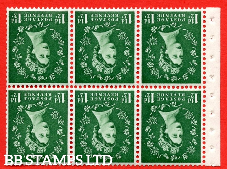SG. 517wi. SB59a. 1½d green. A fine UNMOUNTED MINT. WATERMARK INVERTED. complete booklet pane of 6. Perf type (IS) with Trimmed perfs.