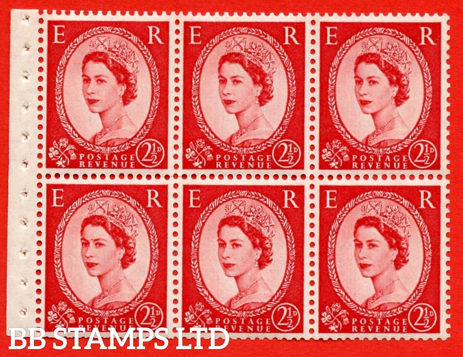SG. 519 b. SB80b. 2½d carmine - red. A fine UNMOUNTED MINTexample. Complete booklet pane of 6. With jewels flaw ERROR. R.2/2 variety. Trimmed Perfs.