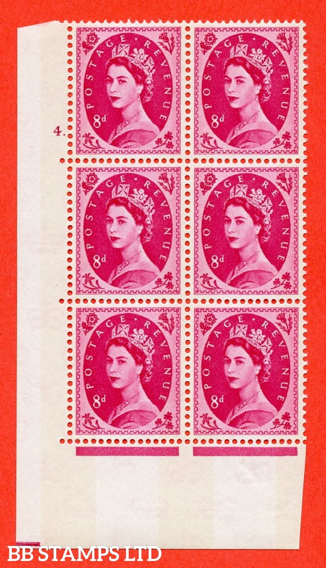 "SG.617b. S123. 8d Magenta. A fine mounted mint "" cylinder 4 dot "" control block of 6 with perf type A (E/I). violet Phosphor 9½mm Band."