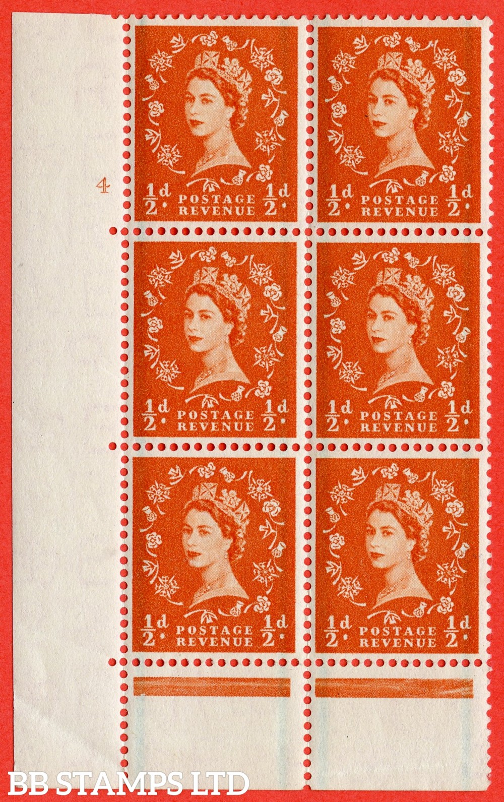 "SG. 561. S3. ½d Orange - Red. A superb UNMOUNTED MINT "" cylinder 4 no dot "" control block of 6 with perf type C E/P."