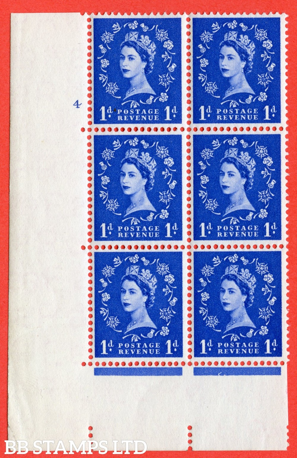 "SG. 541. S14. 1d. Ultramarine. A fine lightly mounted mint "" cylinder 4 no dot "" control block of 6 with perf type A E/I"
