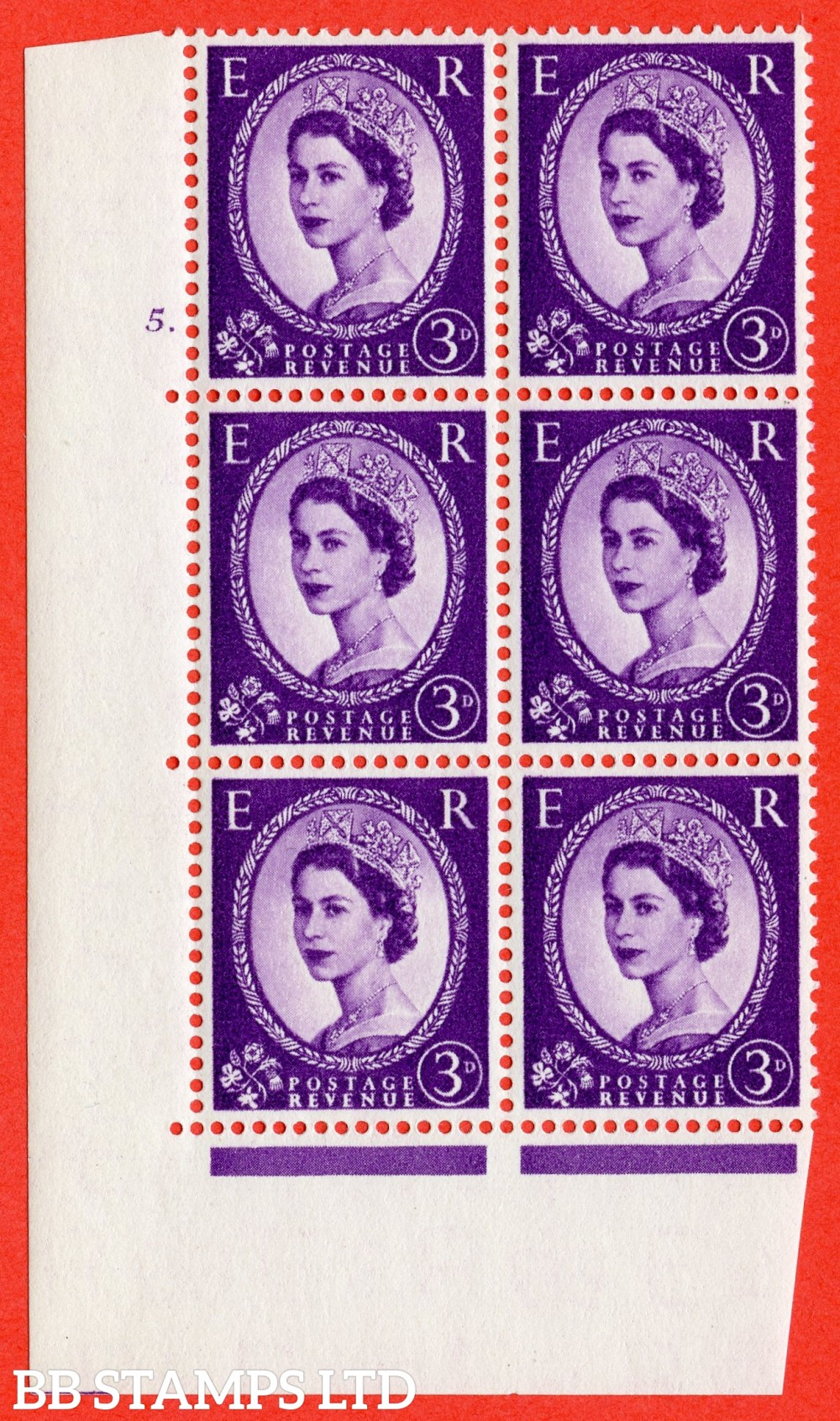 "SG. 545. S68. 3d. Deep - Lilac. A superb UNMOUNTED MINT "" cylinder 5 dot "" control block of 6 with perf type A E/I."