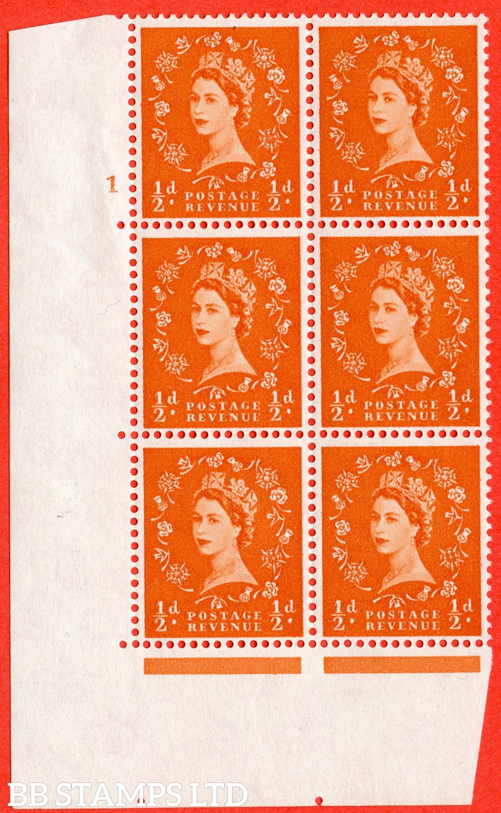 "SG. 570. S5. ½d Orange. A fine lightly mounted mint "" cylinder 1 no dot "" control block of 6 with perf type A E/I. WHITE paper."
