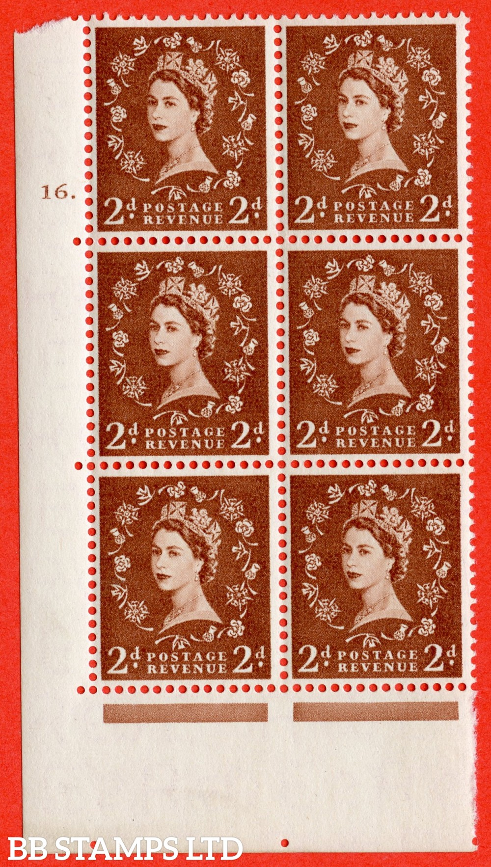 "SG. 543b. S38. 2d. Light Red-brown. A fine lightly mounted mint "" cylinder 16 dot "" control block of 6 with perf type A E/I."