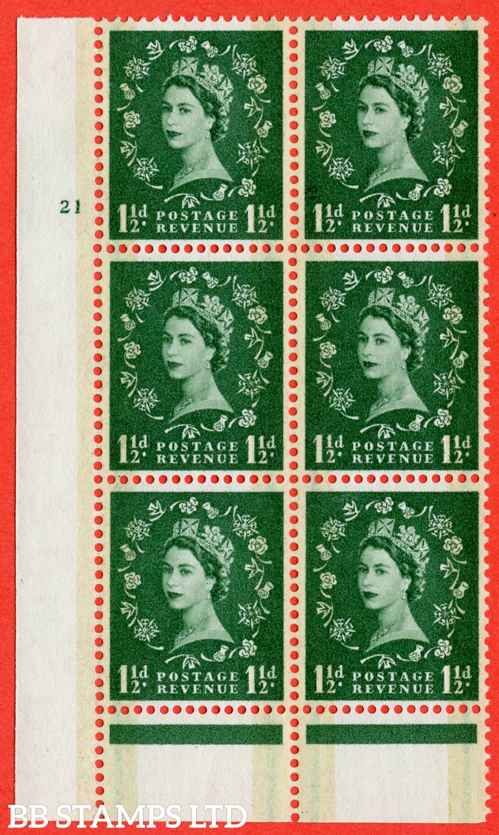 "SG. 601. S31. 1½d Green. A fine lightly mounted mint "" cylinder 21 no dot "" control block of 6 with perf type B I/P."