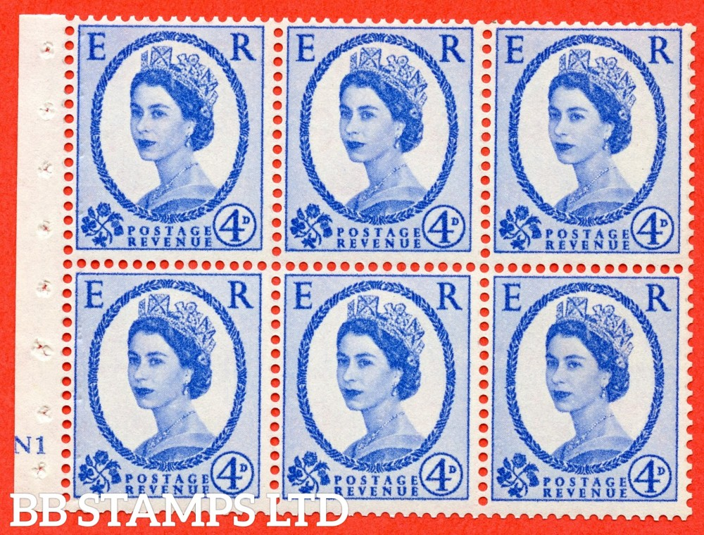 "SG. 576a. SB105. 4d Deep Ultramarine. A fine UNMOUNTD MINT cylinder "" N1 no dot "" booklet pane of 6. Perf type (I) with GOOD PERFS. Smooth edge. White paper."