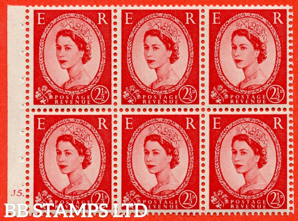 "SG. 519 b. SB80. 2½d carmine - red. A fine UNMOUNTED MINT cylinder "" J5 dot "" booklet pane of 6. Perf type (Ieb) with GOOD PERFS. Smooth edge."
