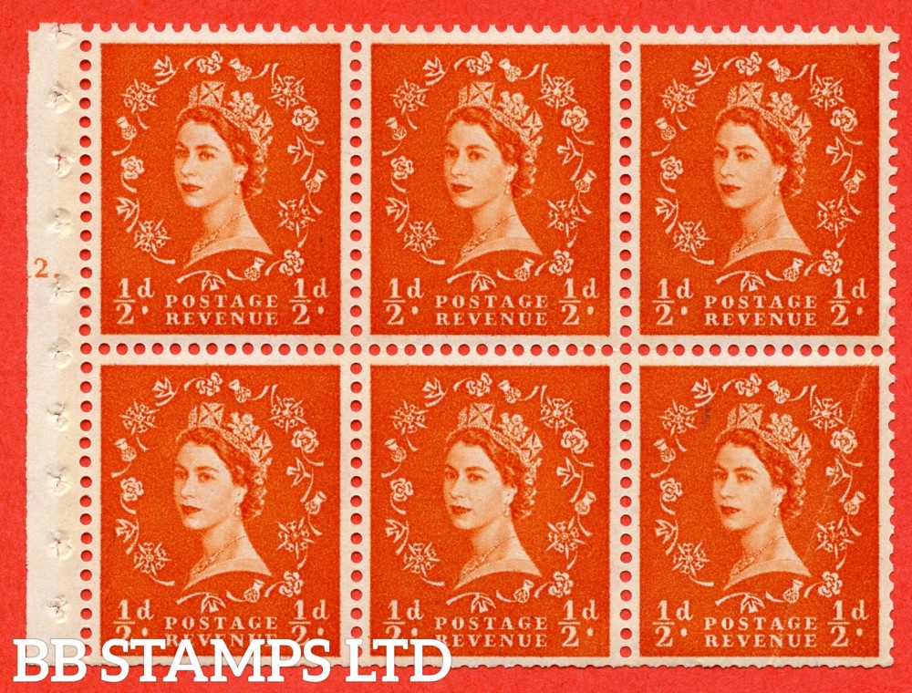 "SG. 610. SB16. ½d Orange Red. A fine UNMOUNTED MINT cylinder "" E12 T dot "" booklet pane of 6. Perf type (Iet) with TRIMMED PERFS. Smooth edge. Cream Paper."