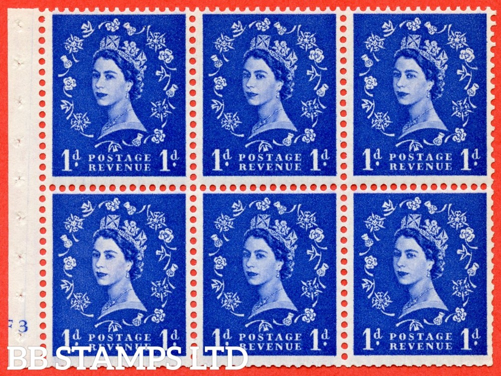 "SG. 571. SB30. 1d Ultramarine. A fine mounted mint cylinder "" F3 no dot "" booklet pane of 6. Perf type (I) with TRIMMED PERFS. Smooth edge Cream paper."